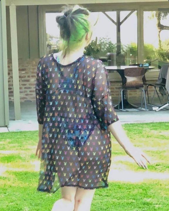Билли Айлиш в голом платье засветила белье